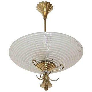 Barovier Murano Glass Brass Pendant