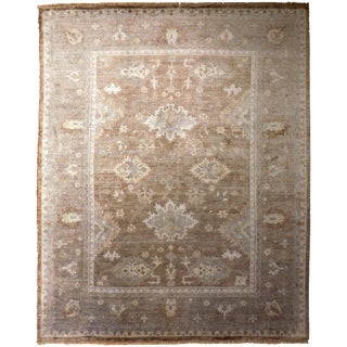 Hand Knotted Indo-Ushak Bamboo Silk Rug - 8'x 10' For Sale