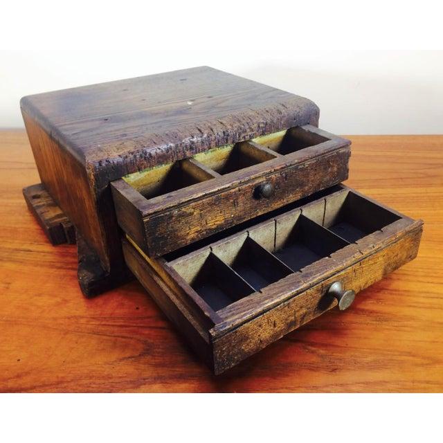 1930's Primitive LockSmith Wood 2 Drawer Cabinet For Sale - Image 4 of 6