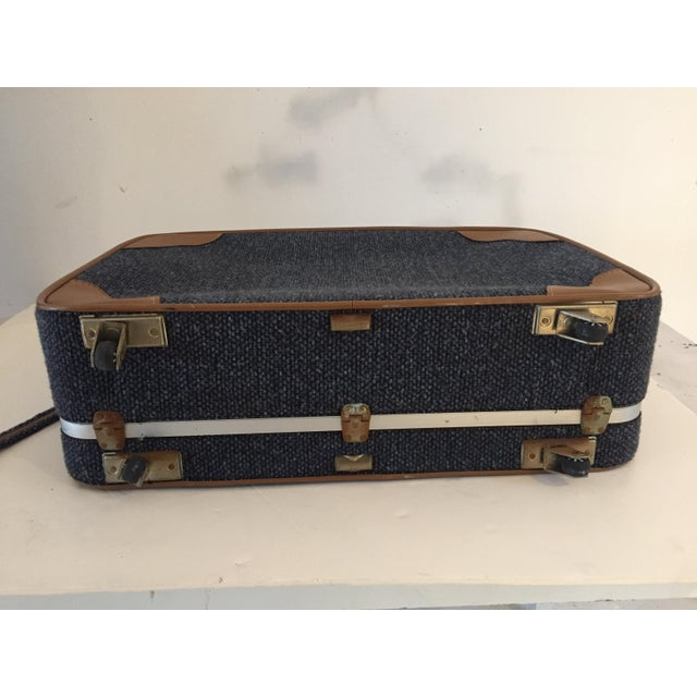 Leather Vintage Luggage Blue Tweed Med Suitcase 25 X18 X 7.5 For Sale - Image 7 of 7