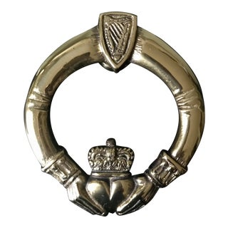 Vintage Brass Goldtone Claddagh Door Knocker For Sale