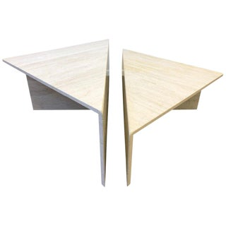 Italian Travertine Cocktail Table by Up & Up - 2 Pc. For Sale