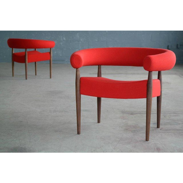 Nanna Ditzel for Getama Ring Chairs in Walnut and Wool For Sale In New York - Image 6 of 7