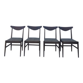Mid Century Walnut Dining Chairs by Stanley - Set of 4 For Sale