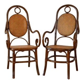 1970s Vintage Thonet Bentwood Cane Chairs- A Pair