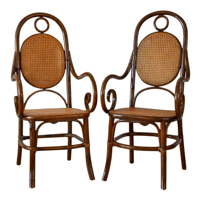 1970s Vintage Thonet Bentwood Cane Chairs- A Pair For Sale