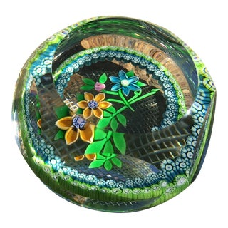 Vintage Millefiori Garland Faceted Floral Paperweight For Sale