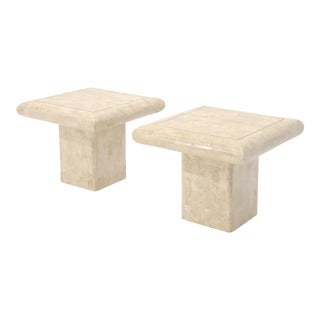 Pair of Square Tessellated Stone Veneer Brass Inlay End Tables Stands For Sale
