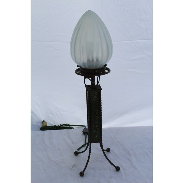 Metal Tiffany Style Lamp, New Glass Re-Wired For Sale - Image 7 of 7