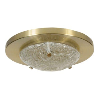 Mid-Century Modernst Flush Mount by Carl Fagerlund for Orrefors in Brushed Brass For Sale