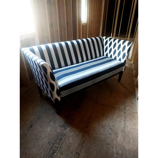 Black & White Stripe Ikat Loveseat - Image 2 of 5