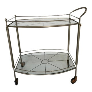 Vintage 2-Tier Glass Bar Cart For Sale