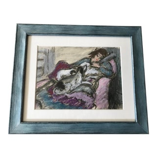 Figural Pastel Drawing of Girl and Dog, Framed For Sale