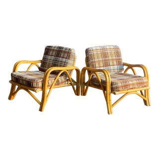 1960s Vintage Rattan Bamboo Lounge Chairs - a Pair For Sale