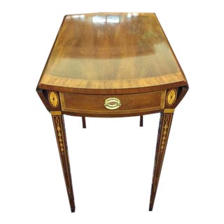 1990s Councill Craftsmen Pembroke End Table With Inlay For Sale