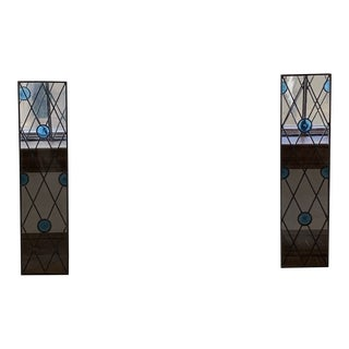Leaded Stained Glass Windows With Bullets - A Pair For Sale