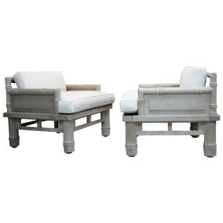 McGuire Solid Naturally Patinated Teak Lounge Chairs For Sale