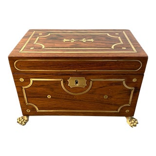 English Regency Rosewood Brass Inlaid Tea Caddy C. 1820 For Sale