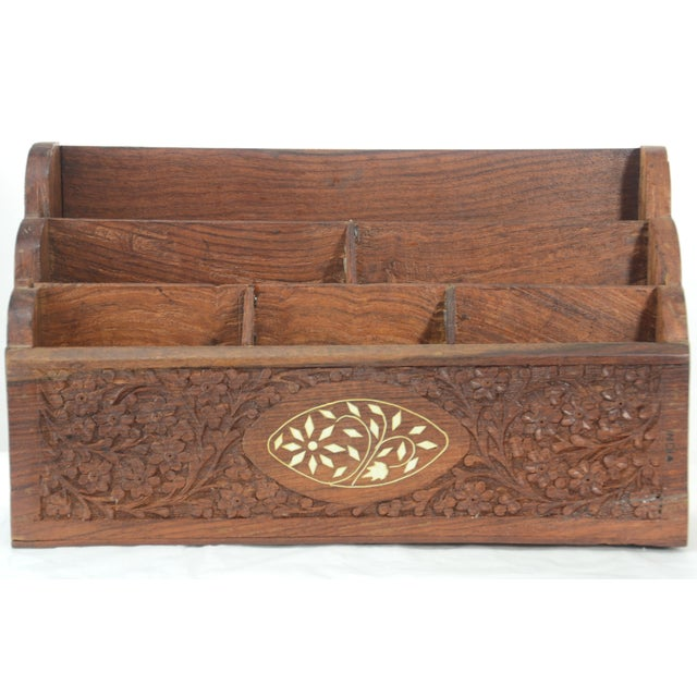 Large Shesham wood letter sorter or stationary organizer with hand-carved textural floral patterns on all sides and inlaid...