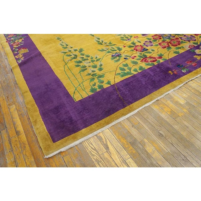"""Antique Chinese Art Deco Rug 8'9"""" X 11'4"""" For Sale - Image 4 of 7"""