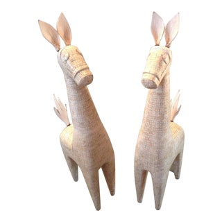 Rare Mid Century Modern Tessellated Ox Bone Llama Duo - 2 Piece Figurine Sculptures 50s-60s For Sale