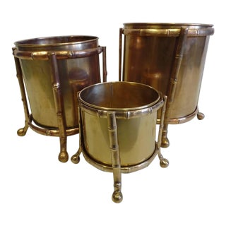 Three Solid Bronze Faux Bamboo Waste Baskets / Umbrella Stands by Maison Baguès For Sale