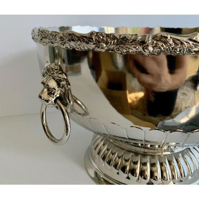 English English Silver Punch Bowl With Rim and Lion Handle Details For Sale - Image 3 of 7