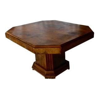 Art Deco Walnut Pedestal Octagonal Dining Table For Sale