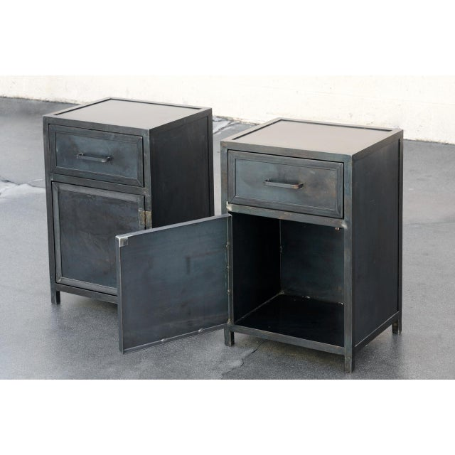 Industrial Pair of Custom Industrial Steel Nightstand Cabinets by Rehab Vintage, Made to Order For Sale - Image 3 of 6