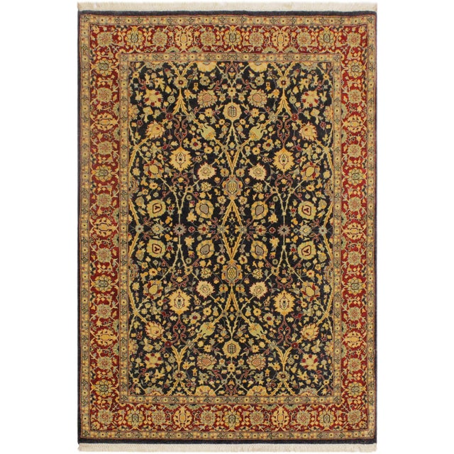 Blue Shabby Chic Istanbul Cristoph Blue/Red Turkish Hand-Knotted Rug -4'1 X 6'1 For Sale - Image 8 of 8