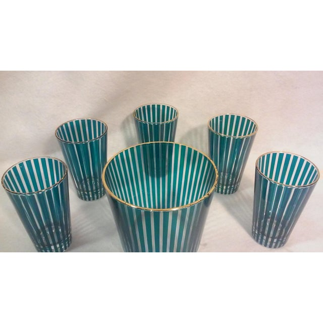Mid Century Green Stripe Bar Set, Six Pieces For Sale - Image 4 of 6
