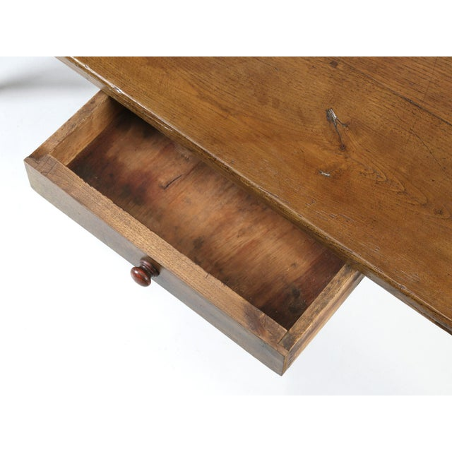 Late 19th Century French Oak Table With Pass-Through Drawer For Sale - Image 5 of 11