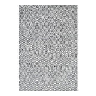 "Chatham, Contemporary Cream 5' 0"" x 8' 0"" Handmade Area Rug in Dark Gray For Sale"