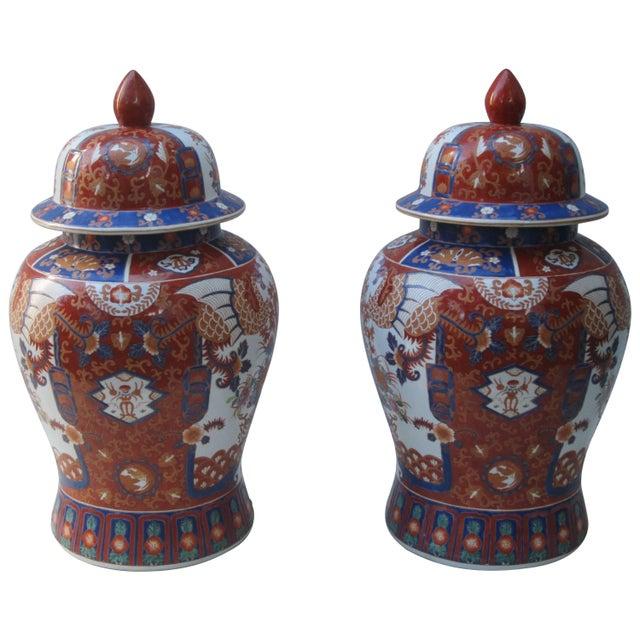 Mid 20th Century Pair of Imari Jars For Sale - Image 5 of 5
