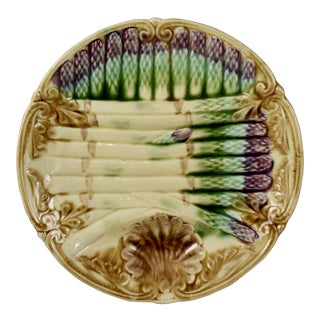 Frie Onnaing French Art Nouveau Barbotine Majolica Asparagus Plate For Sale