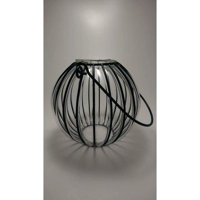 Caged Bubble Glass & Wrought Iron Lantern Hanging Basket - Image 2 of 7