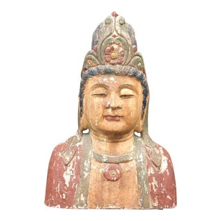 Antique Quan-Yin Wooden Bust For Sale