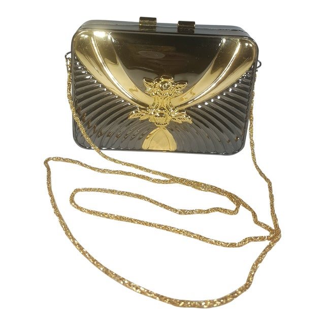 Vintage Gold and Gunmetal Hard Case Clutch With Hidden Chain For Sale