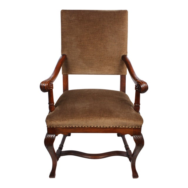 1920s French Queen Anne Style Arm Chair - Image 1 of 5