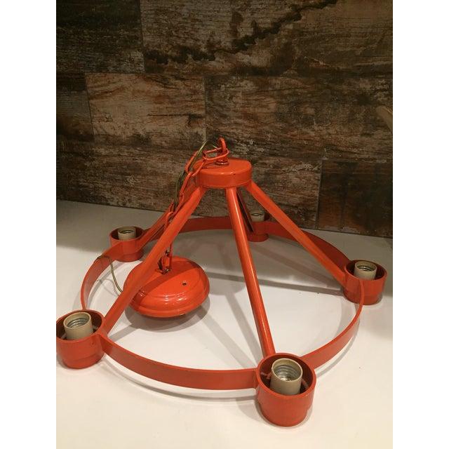 Vintage Mid Century Orange Chandelier - Image 5 of 9
