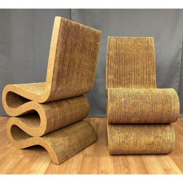 Pair of Early Frank Gehry Easy Edges Wiggle Side Chairs, 1972 For Sale In San Francisco - Image 6 of 13