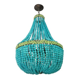 Currey & Co. Turquoise Blue Beaded Hedy Chandelier For Sale