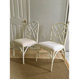 Vintage Chippendale Chinoiserie White Rattan Chairs - a Pair Preview