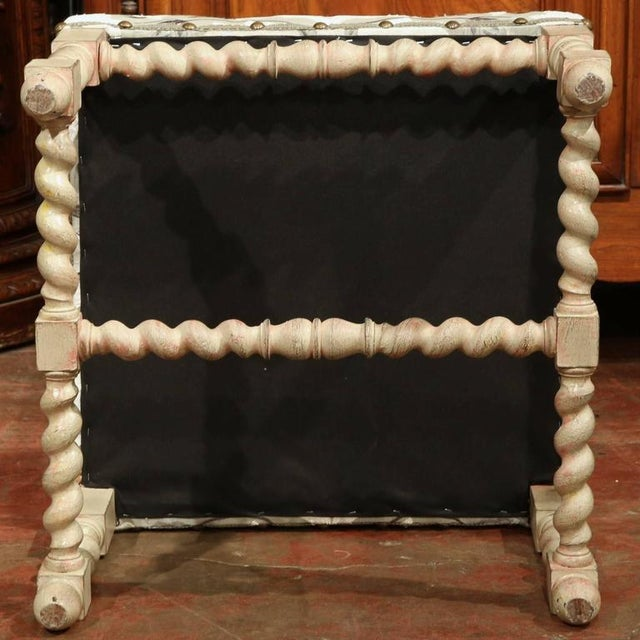 Brass Early 20th Century French Carved & Upholstered Stool For Sale - Image 7 of 7