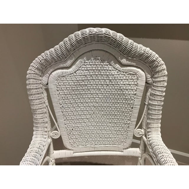 White Antique Scrolled Back Wicker & Cain Armchair - Image 6 of 7