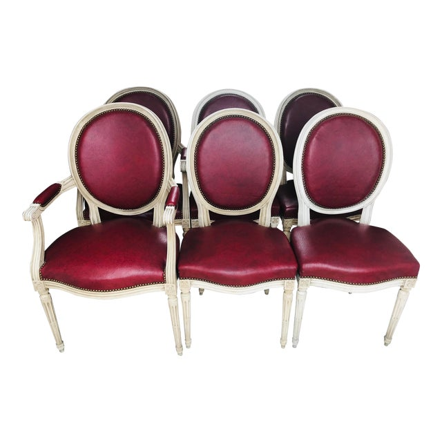 Louis XVI Red Leather Oval Back Dining Chairs - Set of 6 For Sale