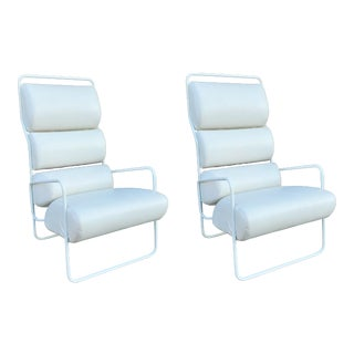 Pair of White Mid Century Lounge Chairs For Sale