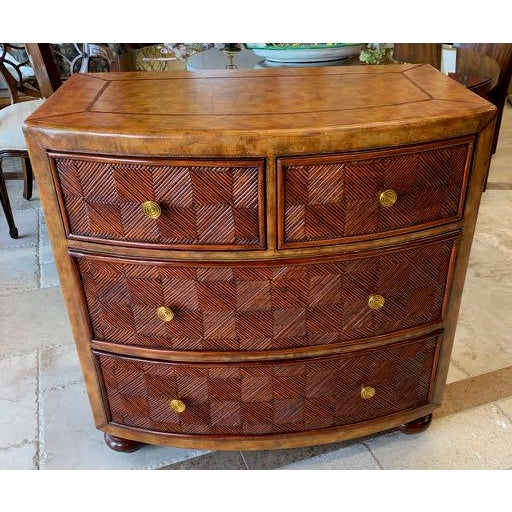 Lineage Leather and Pencil Rattan Chest For Sale - Image 11 of 11
