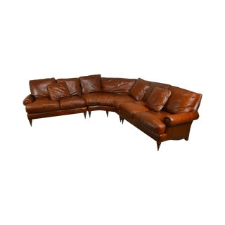 Lillian August Brown Leather Sofa With Upholstered Cushion For Sale