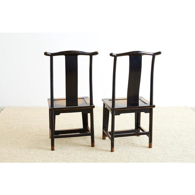 Chinese Dragon Carved Yoke Back Official's Hat Chairs For Sale - Image 12 of 13